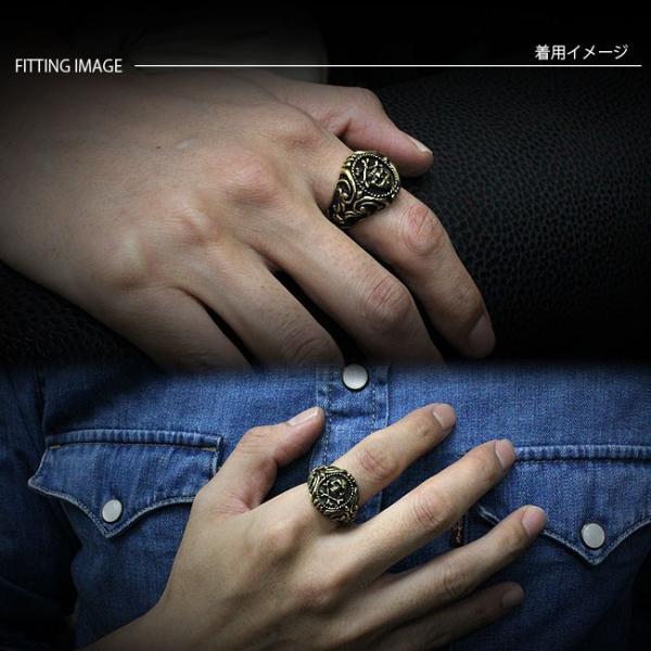 リング ブラス 真鍮 指輪 メンズ レディース ゴールドリング スカル アラベスク クロス ゴシックデザイン|asianarts|03