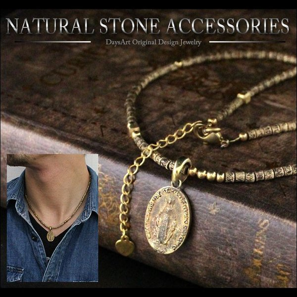ネックレス メンズ レディース ブラスパーツ ゴールドネックレス アンティークマリアプレート スカル 真鍮|asianarts