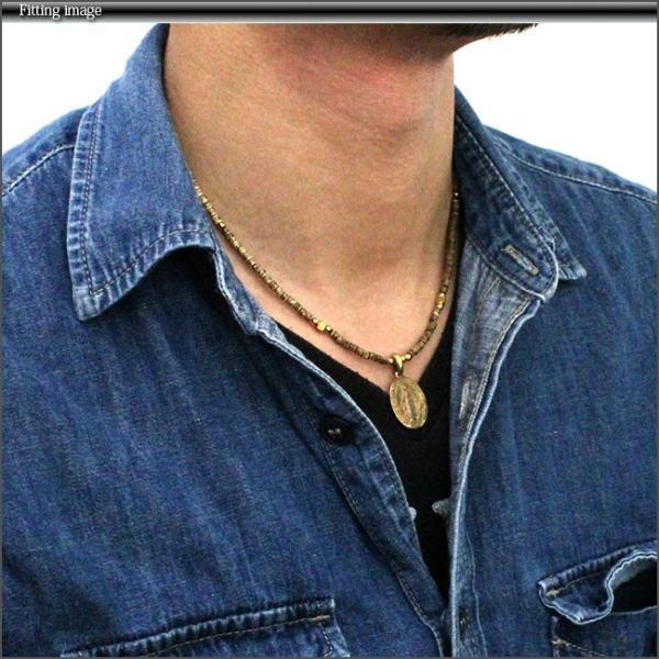 ネックレス メンズ レディース ブラスパーツ ゴールドネックレス アンティークマリアプレート スカル 真鍮|asianarts|04