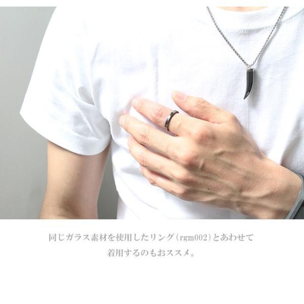 ネックレス メンズ レディース チェーン付 ガラスペンダント ホーン 角 ツノ 牙 キバ asianarts 05
