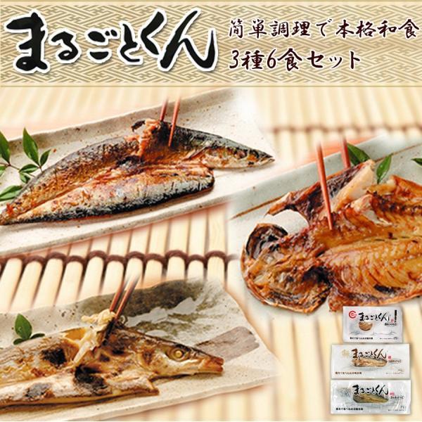 レトルト食品 まるごとくん 干物 3種6食セット 魚 真空パック 常温保存 惣菜 国産