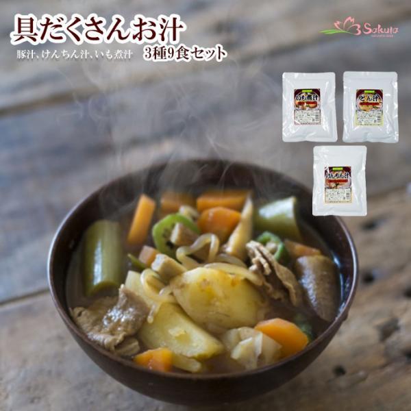 無添加レトルト おかず 惣菜 具だくさんお汁 3種9食セット (豚汁、けんちん汁、いも煮汁) みそ汁 常温1年保存 レトルトスープ