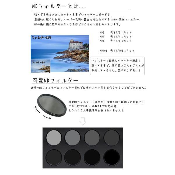 可変NDフィルター 減光フィルター 62mm 一眼レフカメラ ミラーレス一眼レフ 交換レンズ用 可変減光フィルター