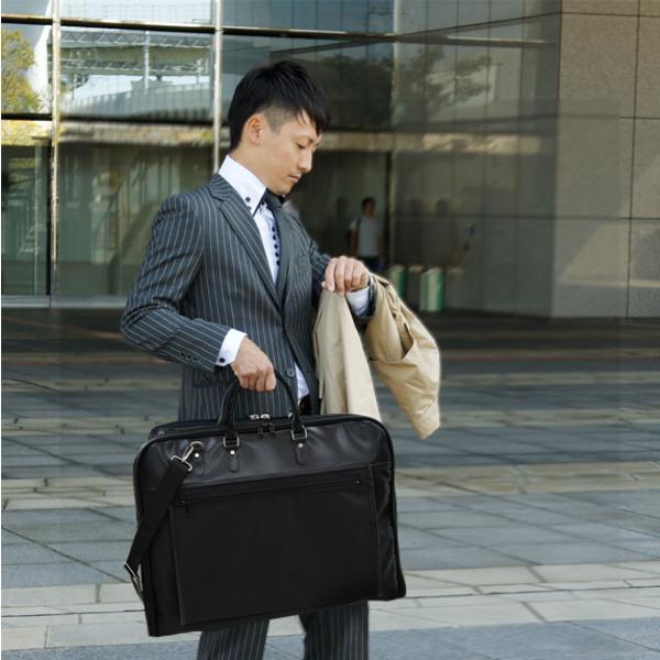 ガーメントバッグ 日本製 メンズ レディース スーツバッグ ガーメントケース ハンガー2本付き AVECALDO アベカルド AV-E109|asoboze|02