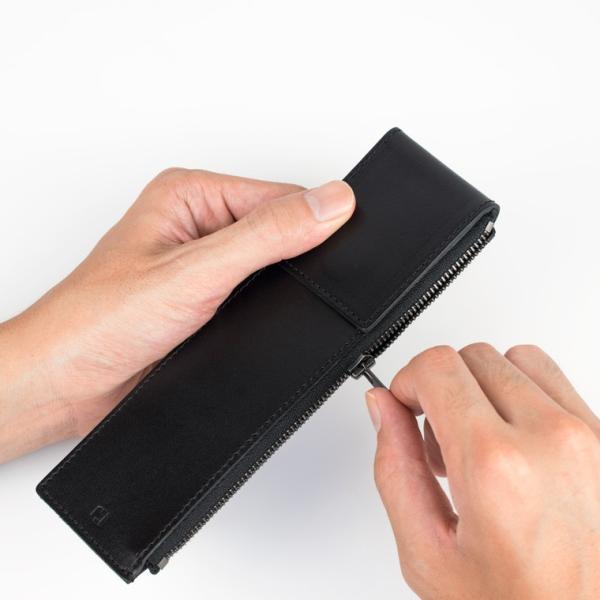 ペンケース 革 シンプル 2本差し 日本製 薄マチ スリム 革 スリムタイプ アップルペンシルケース メンズ ギフト 牛革 SK-W171|asoboze|10