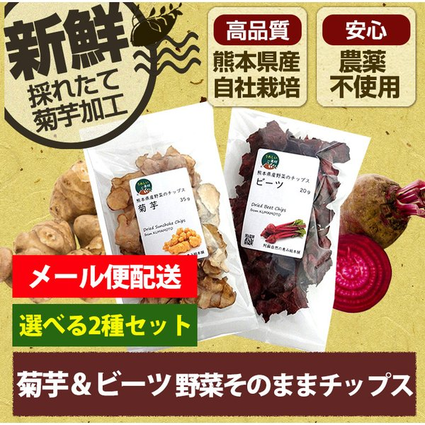 熊本県産野菜のチップス ビーツチップと菊芋チップ 組み合わせ自由で2袋セット【レシピ付き】 メール便対応商品