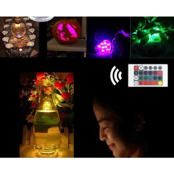 潜水 水中ライト LED 防水マルチカラー電池式 リモコン 操作 無線 10灯 LED インテリア お風呂 お庭 花瓶 水槽 金魚鉢 WATERLIGHT|aspace|06