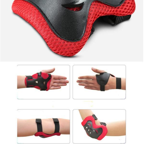 お守りKIDS ブラック キッズプロテクター 子供用 6点セット 自転車 一輪車 スケボー スケート に 手首 肘 膝保護 子供 練習 パッド OMAKIDS-BK|aspace|04