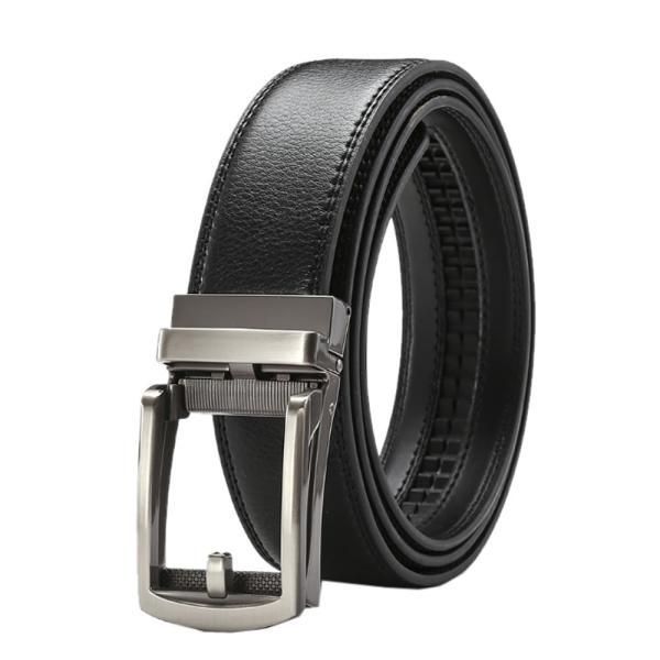 穴なしベルト ブラック シルバー 本革 メンズ オートロック レザー ビジネス 紳士 自動 牛革 カジュアル ANASIBE-BK-SV|aspace|07