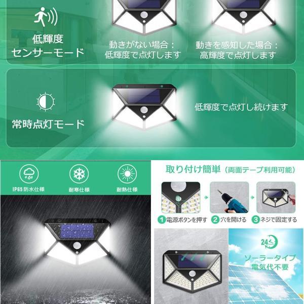 センサーライト 屋外 LED ソーラー 2個セット 人感 太陽光 防雨 防水 100LED 爆光 広範囲 センサー 広範囲 照射  防犯 照明 玄関 2-YOMESENSAR|aspace|05