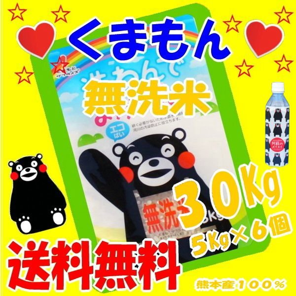 令和2年産,R2年産【】,くまもん,の絵、無洗米,30Kg(九州,熊本のお米より)5Kg×6個