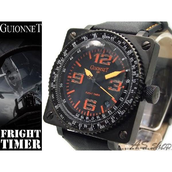 0579d7fc4d 【GUIONNET】ギオネ FLIGHT TIMER BR1300QBO フライトタイマークロノグラフ腕時計 ブラック/オレンジ ...