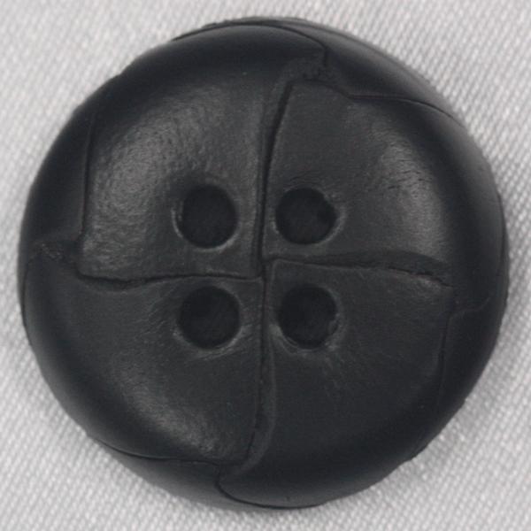 本革ボタン (黒) 25mm 1個入 (表・四つ穴)  天然素材 (レザーボタン) NO600-5 (ジャケット・コート向) ボタン 手芸 通販