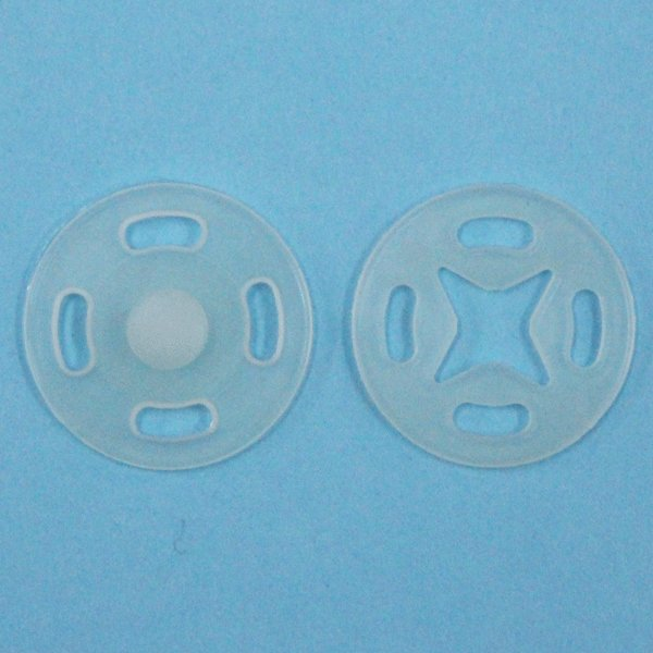 スナップボタン(薄地用 プラスチック) 15mm 透明 / 10セット入 SF-100N (縫い付けタイプ) ボタン 手芸 通販
