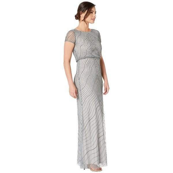 トップス ワンピース パペル アドリアナ レディース Cap Sleeve Beaded Cocktail Dress Silver