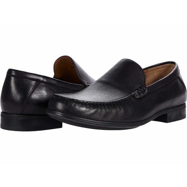 ジョンストンアンドマーフィー スリッポン・ローファー シューズ メンズ Hawkins Venetian Black Glove Leather