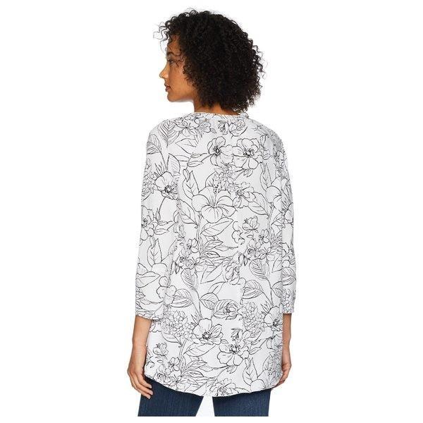モッドドック シャツ トップス レディース Printed Slick Jersey 3/4 Raglan Sleeve Seamed Tee White