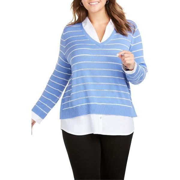 フォックスクラフト ニット&セーター アウター レディース Foxcroft Dana Mix Media Stripe Sweater (Plus Size) Perfect Peri