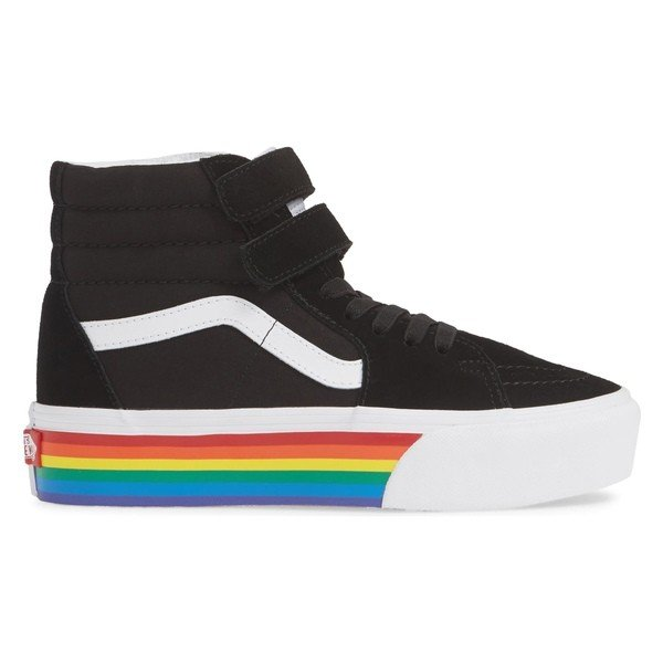バンズ スニーカー シューズ レディース Vans Sk8-Hi V Rainbow Platform Sneaker (Women) Rainbow Black/ True White