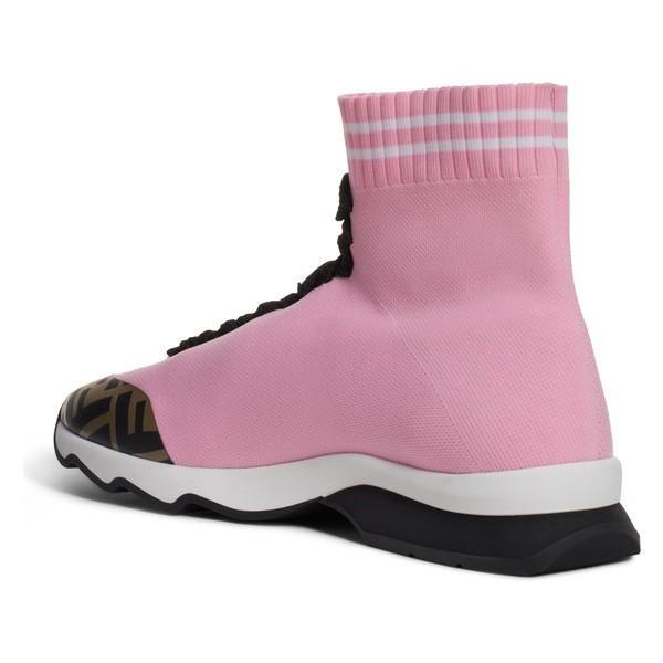 フェンディ スニーカー シューズ レディース Fendi Rockotop Zucca Sock Sneaker (Women) Pink