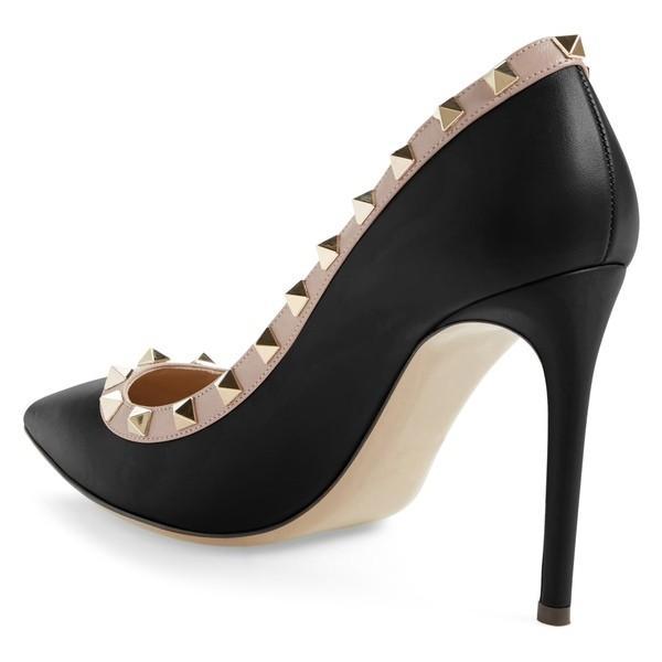 ヴァレンティノ ガラヴァーニ ヒール シューズ レディース VALENTINO GARAVANI Rockstud Pointed Pump (Women) Black/ Nude Leather