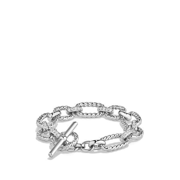 デイビット・ユーマン ブレスレット・バングル・アンクレット レディース David Yurman 'Chain' Cushion Link Bracelet with Diamonds Silver