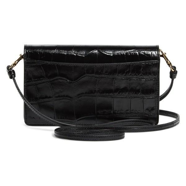 コーチ ハンドバッグ バッグ レディース COACH Hayden Croc Embossed Leather Convertible Crossbody Bag Black