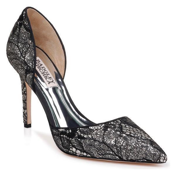 バッドグレイミッシカ パンプス シューズ レディース Badgley Mischka Lola d'Orsay Pump (Women) Black Lace Glitter