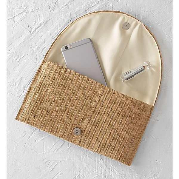 キャシーズ コンセプツ クラッチバッグ バッグ レディース Cathy's Concepts Monogram Straw Envelope Clutch Brown-F