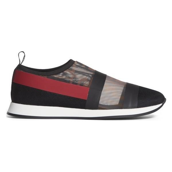 フェンディ スニーカー シューズ レディース Fendi Logo Slip-On Sneaker (Women) Black/ Red