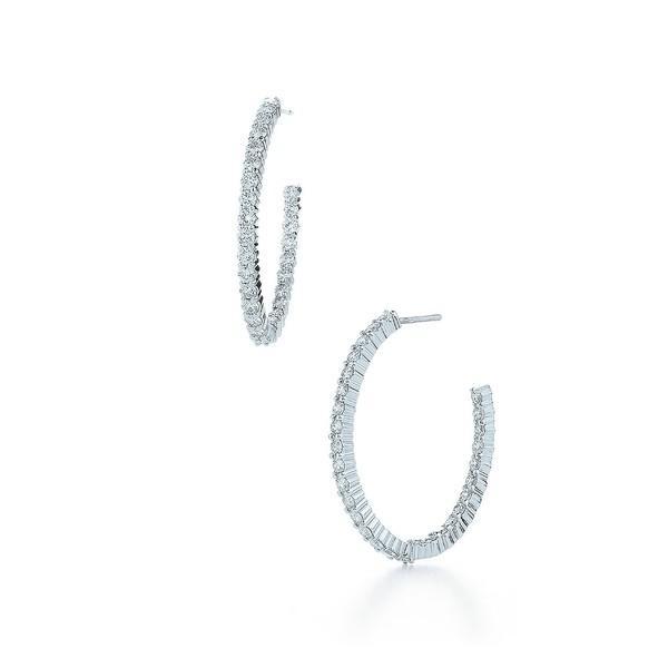 クィア ピアス&イヤリング アクセサリー レディース Kwiat 'Inside Out' Diamond Hoop Earrings White Gold