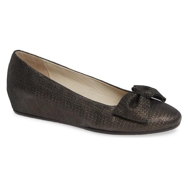 アマルフィーバイランゴーニ サンダル シューズ レディース Amalfi by Rangoni Vipiteno Bow Skimmer Wedge (Women) Graphite Leather