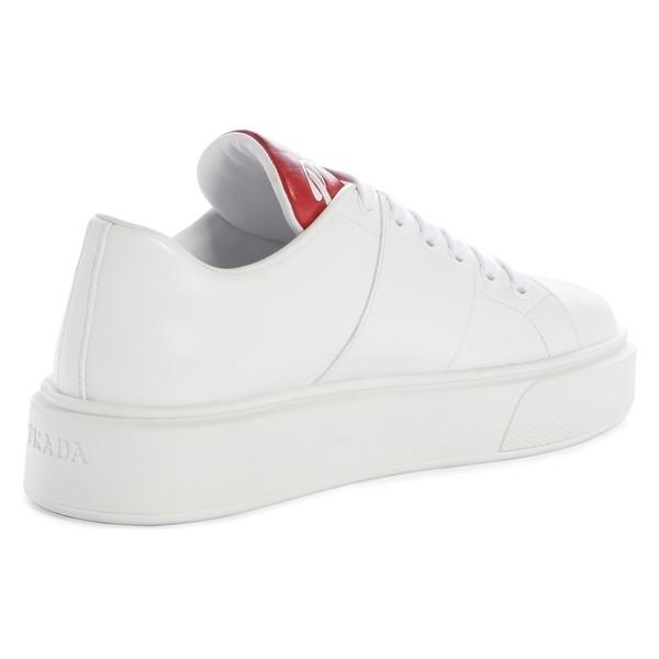 プラダ スニーカー シューズ レディース Prada Logo Platform Sneaker (Women) White/ Red