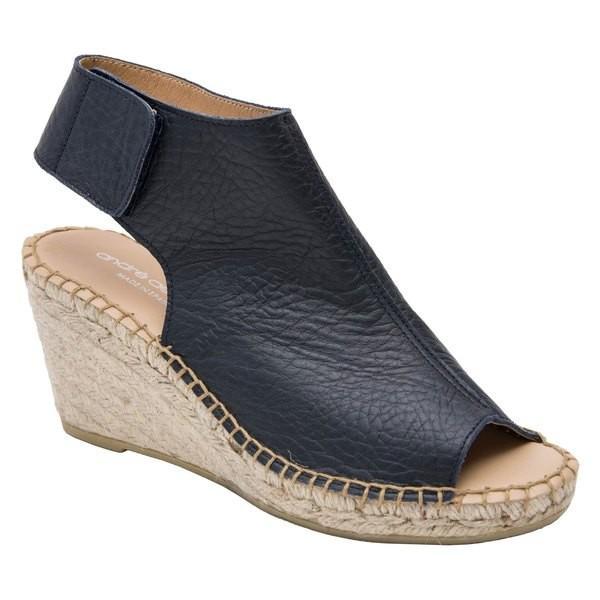 アンドレア アース サンダル シューズ レディース Andr Assous Flora Espadrille Wedge Shield Sandal (Women) Navy Pebble Leather