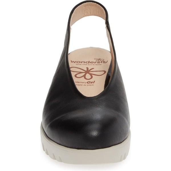 ワンダーズ サンダル シューズ レディース Wonders C-33124 Slingback Wedge (Women) Black Leather