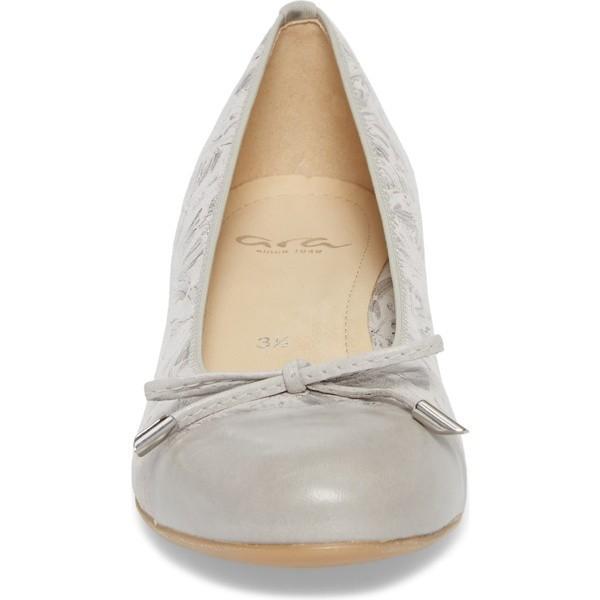 アラ パンプス シューズ レディース ara 'Betty' Cap Toe Flat (Women) Silver Leather