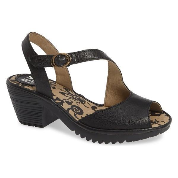 フライロンドン サンダル シューズ レディース Fly London Wyno Sandal (Women) Black Leather