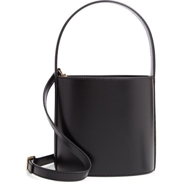 ステゥド ショルダーバッグ バッグ レディース Staud Bissett Leather Bucket Bag Noir