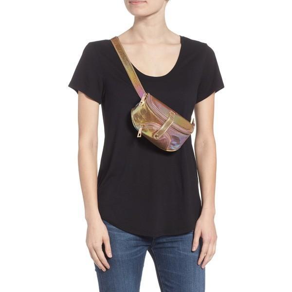 マリブスカイ ショルダーバッグ バッグ レディース Malibu Skye Hologram Faux Leather Belt Bag Rose Gold Hologram