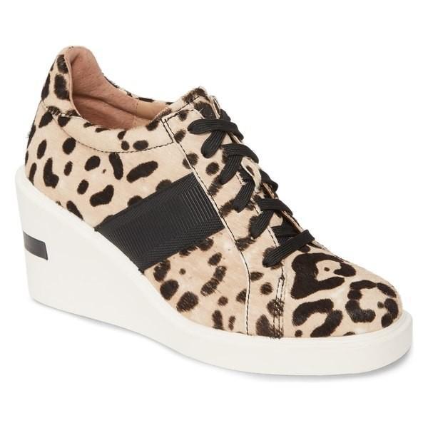 リネアパウロ スニーカー シューズ レディース Linea Paolo Kandis Genuine Calf Hair Wedge Sneaker (Women) White/ Black Calf Hair