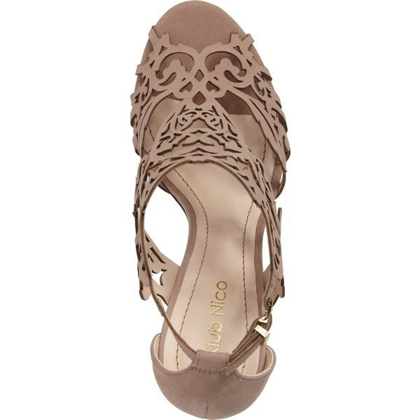 クラブニコ ヒール レディース Klub Nico Marcela 3 Laser Cutout Sandal (Women) Taupe Leather