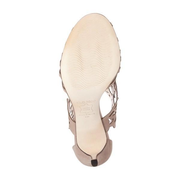 クラブニコ ヒール レディース Klub Nico Marcela 3 Laser Cutout Sandal (Women) Taupe Leather