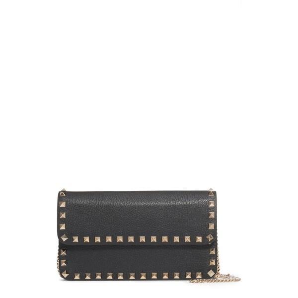 ヴァレンティノ ガラヴァーニ 財布 アクセサリー レディース VALENTINO GARAVANI Rockstud Leather Wallet on a Chain Nero