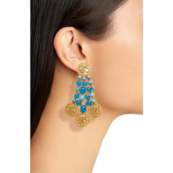 トリーバーチ ピアス&イヤリング アクセサリー レディース Tory Burch Coin Drop Earrings Rolled Brass 59 / Turquoise