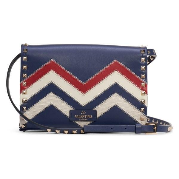 ヴァレンティノ ガラヴァーニ ショルダーバッグ バッグ レディース VALENTINO GARAVANI Small Rockstud Shoulder Bag Pure Blue/ Naturale/ Rosso V