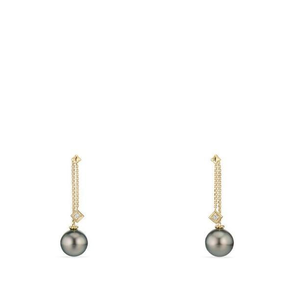 デイビット・ユーマン ピアス&イヤリング レディース David Yurman Solari Earrings with Diamonds in 18K Gold Yellow Gold/ Tahiti Grey Pearl