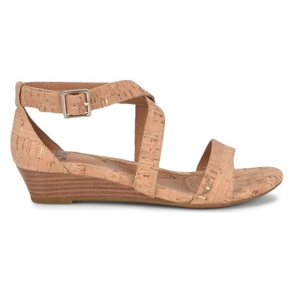 エスエフエフティ サンダル シューズ レディース Sfft 'Innis' Low Wedge Sandal (Women) Gold/ Natural Cork