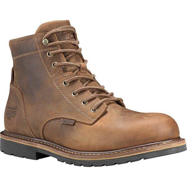 """ティンバーランド ブーツ&レインブーツ シューズ メンズ Men's Timberland PRO 6"""" Millworks Waterproof Soft Toe Boot Brown Gaucho Full Grain Leather"""