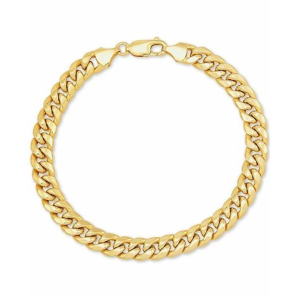 """イタリアン ゴールド ブレスレット・バングル・アンクレット アクセサリー メンズ Men's Miami Cuban Link 9-1/2"""" Chain Braceletin 10k Gold Gold"""