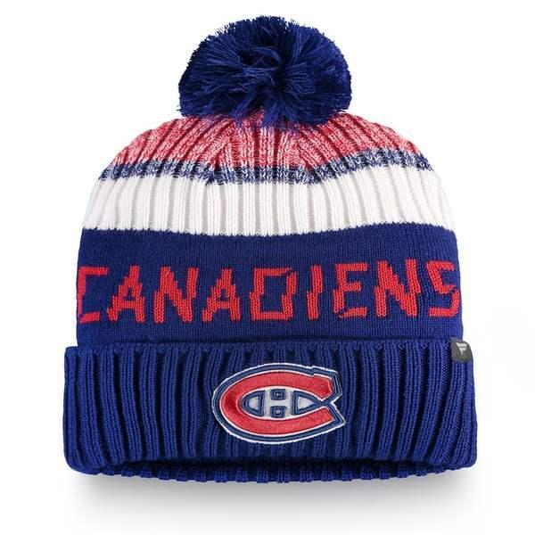 ファナティクス 帽子 アクセサリー メンズ Montreal Canadiens Fanatics Branded Authentic Pro Rinkside Goalie Cuffed Knit Hat with Pom Blue/Red